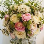 Pink and cream table arrangement