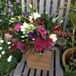 Autumn colours hand-tied bouquet